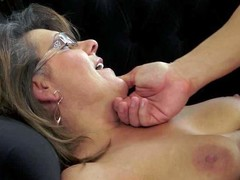 Short haired brunette whore with hanging tits and sexy glasses