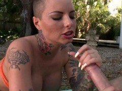Christy Mack gets her face sprayed with doting jizz