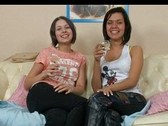 Youthful poofter babes drinking and licking