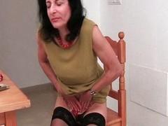 Hairy Emanuelle in ebon stockings
