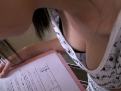Perfect na‹ve breast by Asian babe in the downblouse video