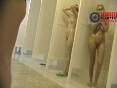 Cute young girls revealed in a voyeur shower cam video