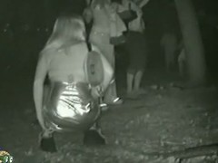 Partying pussies pissing to hand outdoor party around a eavesdrop cam adhering