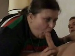 Old BBW Gives Blowjob