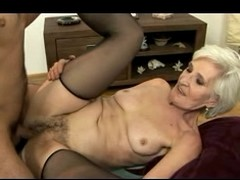 Grey Haired Granny in Stockings Gets Cum beyond everything their way Hairy Pussy