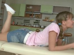 Teen confined and gagged then fucked in excess of a table