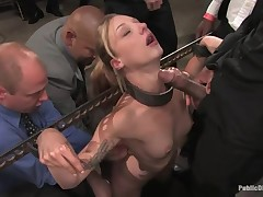 Tied up weirdo whore is getting her brashness filled with penis