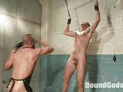 A brand experimental stud, bondage, enema and mimic fisting virgin.