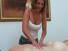Super blonde pleases their way horny BF down massage coupled with a handjob