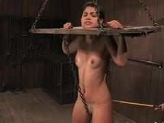Latina babe Leah has a yoke prohibition on the brush ness