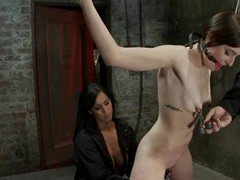 Vest-pocket intercourse slave Missy Minks is being crossed on an obstacle sides