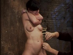 Tied up Elise Graves gets racking encircling clothespins