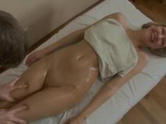 Blonde perverted hottie got her nice looking tits pressed