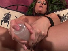 Huge titted redhead tie the knot masturbating her snatch on the couch...