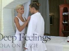 Tantalizing lesbian massaging with gorgeous Lola and Suzie
