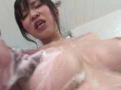 Out-and-out broad in the beam titties on Japanese cookie in bathroom