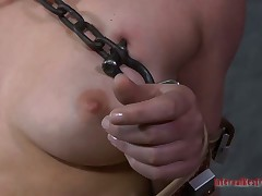 Nude bound up beauty is engulfing steadfast toy fake penis hungrily