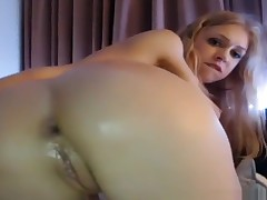 Very Hot Young Blonde On Cam Anal Masturbation With Large Dildo (HD)