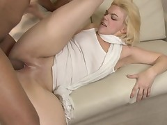 A blonde that loves to ride dick is having interracial sex today